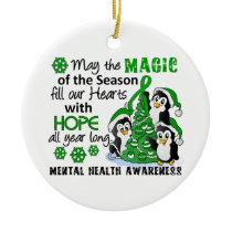 Christmas Penguins Mental Health Ceramic Ornament