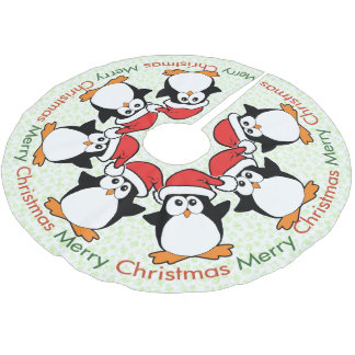 Christmas Penguins Merry Christmas Brushed Polyester Tree Skirt