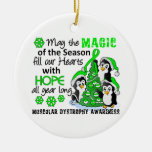 Christmas Penguins Muscular Dystrophy Double-Sided Ceramic Round Christmas Ornament