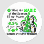 Christmas Penguins Muscular Dystrophy Round Stickers