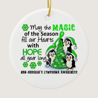 Christmas Penguins Non-Hodgkin's Lymphoma Ceramic Ornament
