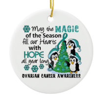 Christmas Penguins Ovarian Cancer Ceramic Ornament