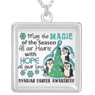 Christmas Penguins Ovarian Cancer Square Pendant Necklace