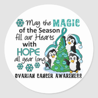 Christmas Penguins Ovarian Cancer Stickers