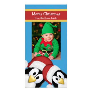 Christmas Penguins Personalized Blue And Red Card