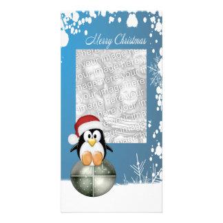 Christmas Penguins Photo Card Template