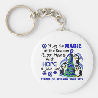Christmas Penguins Rheumatoid Arthritis Basic Round Button Keychain