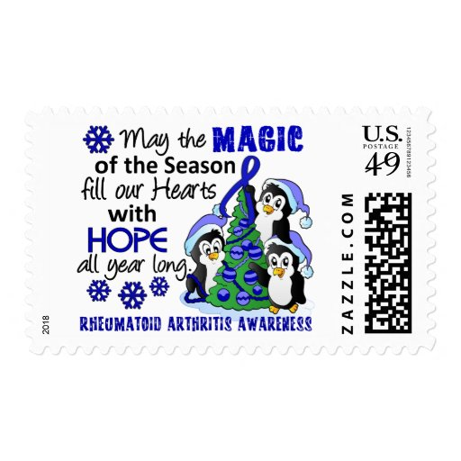 Christmas Penguins Rheumatoid Arthritis Postage Stamps