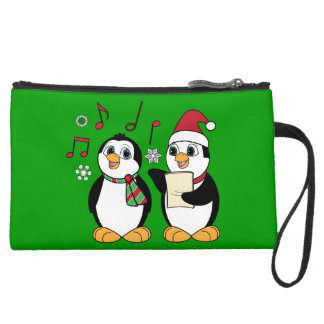 Christmas Penguins Singing Suede Wristlet Wallet