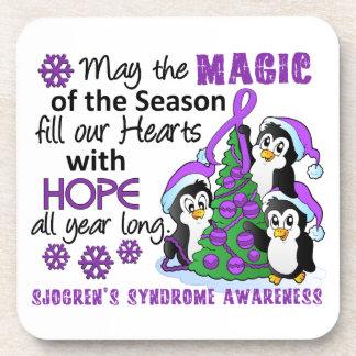 Christmas Penguins Sjogren's Syndrome Beverage Coasters