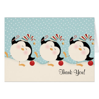 Christmas Penguins Thank You Notes Card
