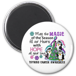 Christmas Penguins Thyroid Cancer 2 Inch Round Magnet