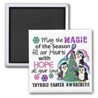 Christmas Penguins Thyroid Cancer 2 Inch Square Magnet