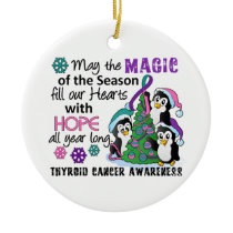 Christmas Penguins Thyroid Cancer Ceramic Ornament