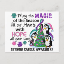 Christmas Penguins Thyroid Cancer Holiday Postcard
