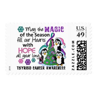 Christmas Penguins Thyroid Cancer Postage