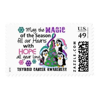 Christmas Penguins Thyroid Cancer Postage Stamp