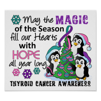 Christmas Penguins Thyroid Cancer Poster