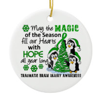 Christmas Penguins Traumatic Brain Injury TBI Ceramic Ornament