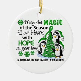 Christmas Penguins Traumatic Brain Injury TBI Ceramic Ornament
