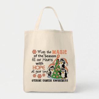 Christmas Penguins Uterine Cancer Canvas Bag