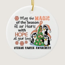 Christmas Penguins Uterine Cancer Ceramic Ornament