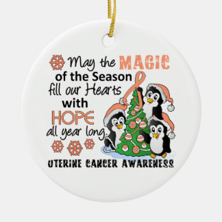Christmas Penguins Uterine Cancer Ceramic Ornament