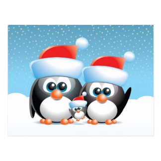 Christmas Penguins with baby Postcard