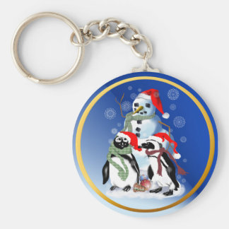 Christmas Penquin and Snowman Keychain