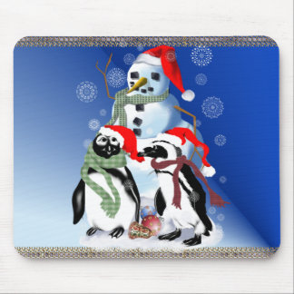 Christmas Penquin and Snowman Mousepad