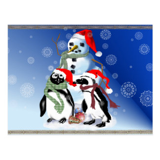 Christmas Penquin and Snowman Postcards