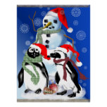 Christmas Penquin and Snowman Poster