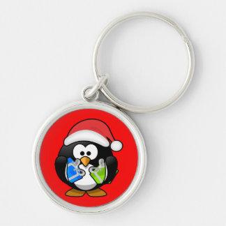 Christmas Penquin Gifts Santa Hat Design Key Ring Keychains
