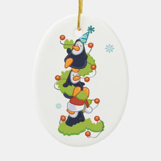Christmas Penquins Double-Sided Oval Ceramic Christmas Ornament