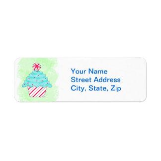 Christmas Pepperment Cupcake Green Custom Address Label