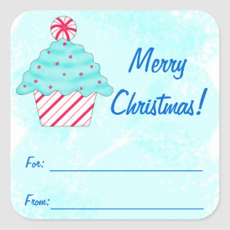Christmas Peppermint Cupcake Art Gift Label