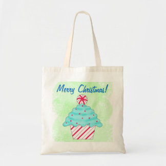 Christmas Peppermint Cupcake Art Green Shopping Tote Bags