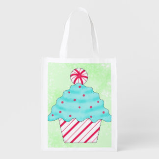 Christmas Peppermint Cupcake Art Whimsy Gift Grocery Bag