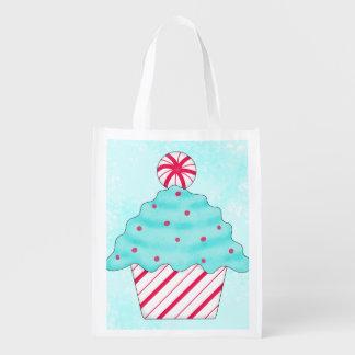 Christmas Peppermint Cupcake Art Whimsy Gift Reusable Grocery Bag