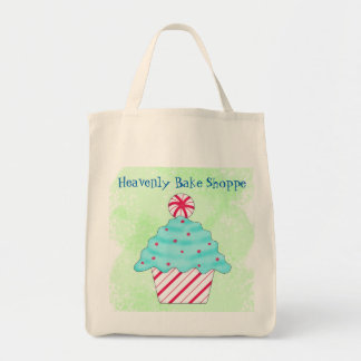 Christmas Peppermint Cupcake Business Advertising Tote Bag