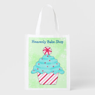 Christmas Peppermint Cupcake Business Custom Name Reusable Grocery Bag