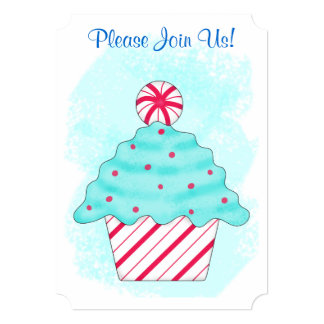 Christmas Peppermint Cupcake Coffee Dessert Party Card