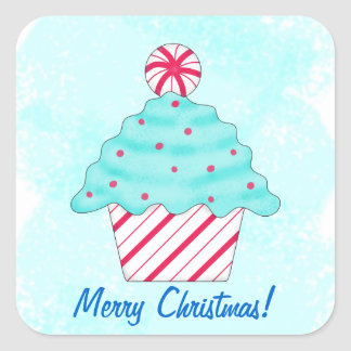 Christmas Peppermint Cupcake Name Personalized Square Sticker