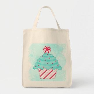 Christmas Peppermint Cupcake Original Art Canvas Bag