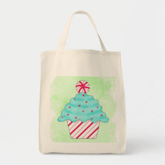 Christmas Peppermint Cupcake Original Art Green Tote Bag