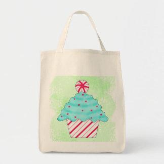 Christmas Peppermint Cupcake Original Art Green Tote Bag