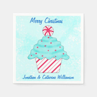 Christmas Peppermint Cupcake Personalized Party Paper Napkin
