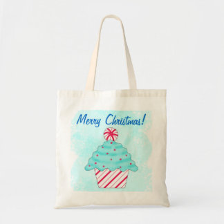 Christmas Peppermint Cupcake Reusuable Shopping Bag