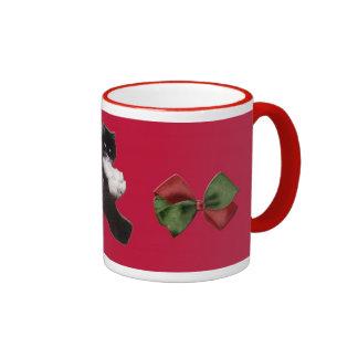Christmas Persian cat amongst bows mug