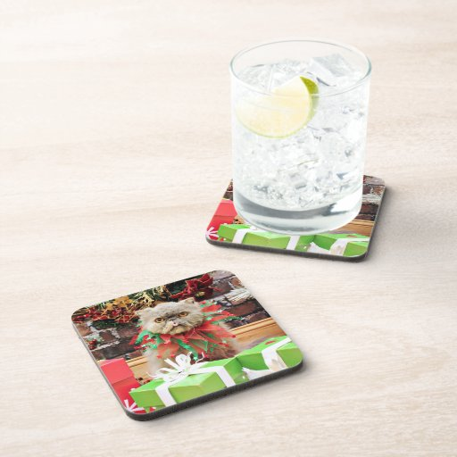Christmas - Persian Cat - Frannie Beverage Coasters